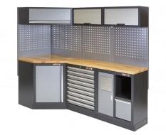 Complete werkplaatsinrichting, werkbank + hoekstuk met hardhouten werkblad, gereedschapskast, 223 x 200 cm.