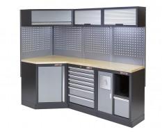 Complete werkplaatsinrichting, werkbank + hoekstuk met multiplex werkblad, gereedschapskast, 223 x 200 cm