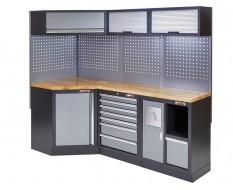 Complete werkplaatsinrichting, werkbank + hoekstuk met hardhouten werkblad, gereedschapskast, 223 x 200 cm