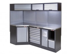 Complete werkplaatsinrichting, werkbank + hoekstuk met metaal omkleed werkblad, gereedschapskast, 223 x 200 cm
