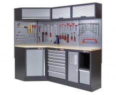 Complete werkplaatsinrichting, gevulde gereedschapskast, werkbank + hoekstuk met multiplex werkblad, 223 x 200 cm
