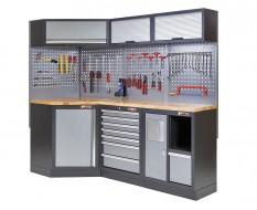 Complete werkplaatsinrichting, gevulde gereedschapskast, werkbank + hoekstuk met hardhouten werkblad, 223 x 200 cm