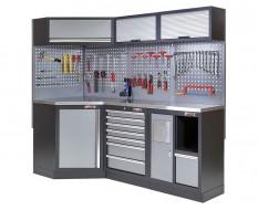 Complete werkplaatsinrichting, gevulde gereedschapskast, werkbank + hoekstuk met metaal omkleed werkblad, 223 x 200 cm