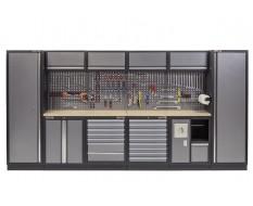 Complete Werkplaatsinrichting, werkbank multiplex blad, gereedschapskast, gereedschapsbord, 4 x hangkast,17 laden - 392 x 200 cm