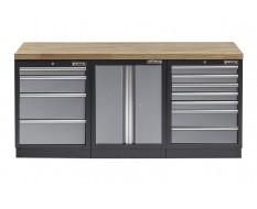 Werkbank set met hardhouten blad, werkplaatskast en 11 laden - 204 x 46 x 94,6 cm