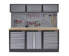 Werkbank set met gereedschapswand, werkplaatsinrichting, gereedschapsbord, 3 x hangkast en 11 laden - 204 x 46 x 200 cm