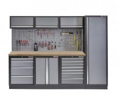 Werkbank set met hoge kast, gereedschapswand, 3 x hangkast en 11 laden - 264 x 46 x 200 cm werkplaatsinrichting