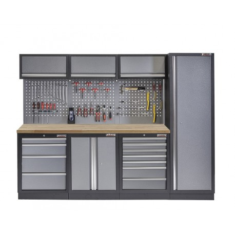 Werkbank Set Met Hoge Kast Gereedschapswand 3 X Hangkast En 11 Laden 264 X 46 X 200 Cm Werkplaatsinrichting