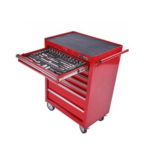 Gereedschapswagen rood, 5 laden gevuld met gereedschap in foam inleg