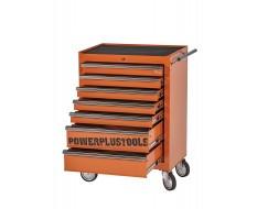 Gereedschapswagen oranje, 5 laden gevuld met gereedschap in foam inleg