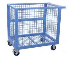 Blauwe magazijnwagen 112 x 72 x 100 cm met een capaciteit van 350 kg