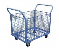 Blauwe magazijnwagen 122 x 70 x 105 cm met een capaciteit van 350 kg