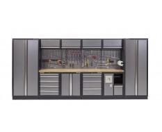 Complete Werkplaatsinrichting, werkbank houten blad, gereedschapskast, gereedschapsbord, 4 x hangkast,10 laden, 455 x 200 cm.