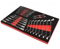 Kniesleutel, ring-ringsleutel en ring-steek ratelsleutelset 24 delen - foam inleg