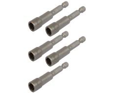 """Set van 5 dop bit adapters 1/4"""" sleutelwijdte 11 mm. lengte 65 mm. - magnetische adapter voor boormachine"""