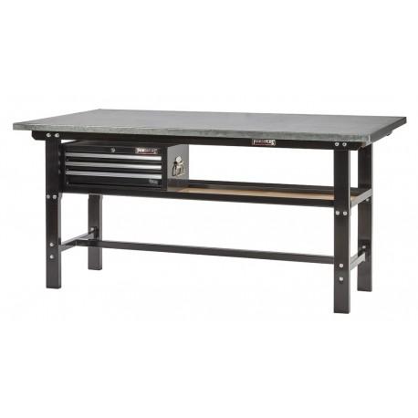 Werkbank zwart 200 cm met zinken werkblad en gereedschapskist