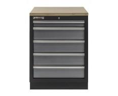 Werkplaatskast met vijf laden / werkbank met multiplex werkblad - 68 x 46 x 94,8 cm