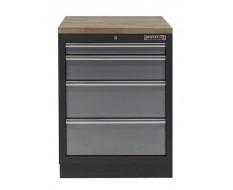 Werkplaatskast met vier laden / werkbank met hardhouten werkblad - 68 x 46 x 94,8 cm