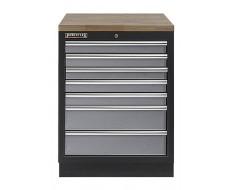 Werkplaatskast met zeven laden / werkbank met hardhouten werkblad - 68 x 46 x 94,8 cm