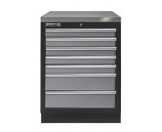 Werkplaatskast met zeven laden / werkbank met metaal omkleed werkblad - 68 x 46 x 94,8 cm