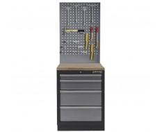 Werkplaatskast met vier laden, hardhouten werkblad + gereedschapsbord - 68 x 46 x 200 cm