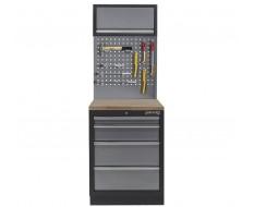 Werkplaatskast met vier laden, hardhouten werkblad + gereedschapsbord en hangkast - 68 x 46 x 200 cm