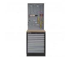 Werkplaatskast met zeven laden, hardhouten werkblad + gereedschapsbord - 68 x 46 x 200 cm