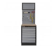 Werkplaatskast met zeven laden, hardhouten werkblad + gereedschapsbord en hangkast - 68 x 46 x 200 cm