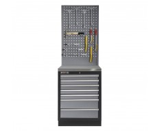 Werkplaatskast met zeven laden, metaal omkleed werkblad + gereedschapsbord - 68 x 46 x 200 cm