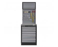 Werkplaatskast met zeven laden, metaal omkleed werkblad + gereedschapsbord en hangkast - 68 x 46 x 200 cm
