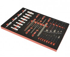 Vijlenset voor metaal – lange doppen – centerpons – drevel en doorslagpennen set - 31 delen - foam inleg