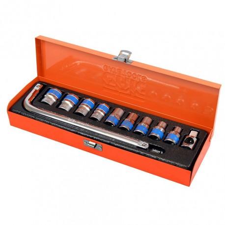 Doppenset 1/2 inch – zeskant met wringijzer 11 delige set in metalen box.