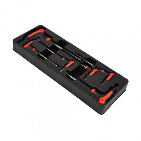 Torxset 6 delig - T sleutel torx met kunststof handvat in kunststof module voor gereedschapswagen