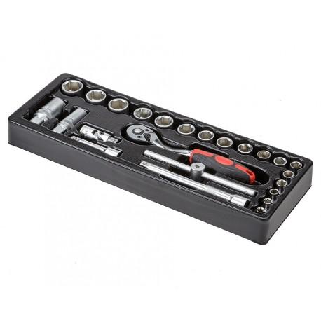 """Doppenset - ratelsleutelset 24-delig 3/8 """" incl. ratelsleutel in kunststof module voor gereedschapswagen"""