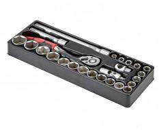 """Doppenset - Ratelsleutelset 25 delig - 1/2 """" incl. ratelsleutel in kunststof module voor gereedschapswagen"""