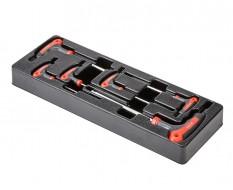 T-inbusset 6 delig - T sleutel inbus met kunststof handvat in kunststof module voor gereedschapswagen