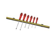 Magneetstrip met schroevendraaierset kruis- en platte kop 6 delig met levenslange garantie
