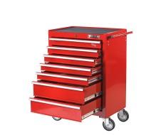 Gevulde gereedschapswagen rood, 5 laden gevuld met gereedschap in foam inleg