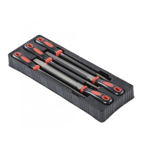 Vijf delige vijlenset - 5 metaalvijlen - metaalvijl set in kunststof module voor gereedschapswagen