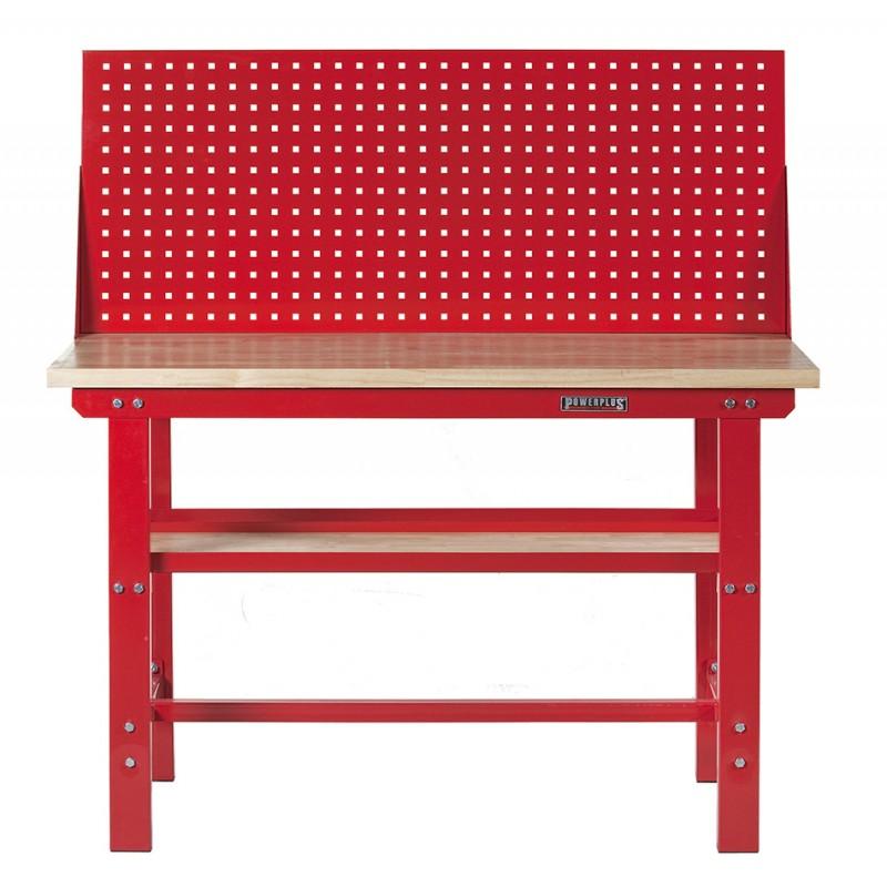 Werkbank rood 150 cm met hardhouten blad + gereedschapsbord   Powerplustools