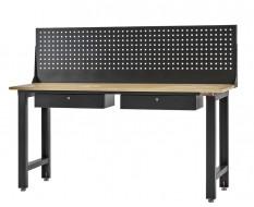 Werkbank elegance line hamerslag zwart 200 cm met gereedschapsbord en 2 laden