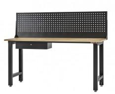 Werkbank elegance line hamerslag zwart 200 cm met gereedschapsbord en lade