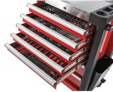 Gevulde gereedschapswagen rood 7 laden 72 x 48 x 101 cm