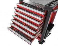 Gevulde gereedschapswagen rood 8 laden 72 x 48 x 101 cm
