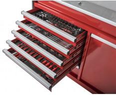 Gevulde gereedschapswagen rood 7 laden + lade met magazijnbakjes - 110 x 48 x 101 cm