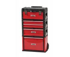 Verrijdbare gereedschapstrolley rood 4 delig met stapelbare gereedschapskisten