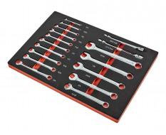 Engelse sleutel set 17 delen in soft foam module - inch gereedschap Engelse sleutels