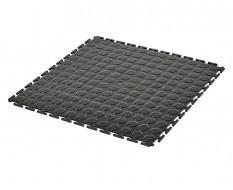 PVC kliktegel zwart 500 x 500 x 7 mm. - Industriële werkplaatstegel met ronde noppen