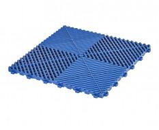 Open kliktegel blauw 400 x 400 x 18 mm. - harde kunststof tegel met open structuur