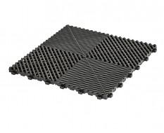Open kliktegel zwart 400 x 400 x 18 mm. - harde kunststof tegel met open structuur